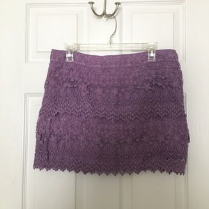 American Eagle Crochet Mini Skirt - Purple
